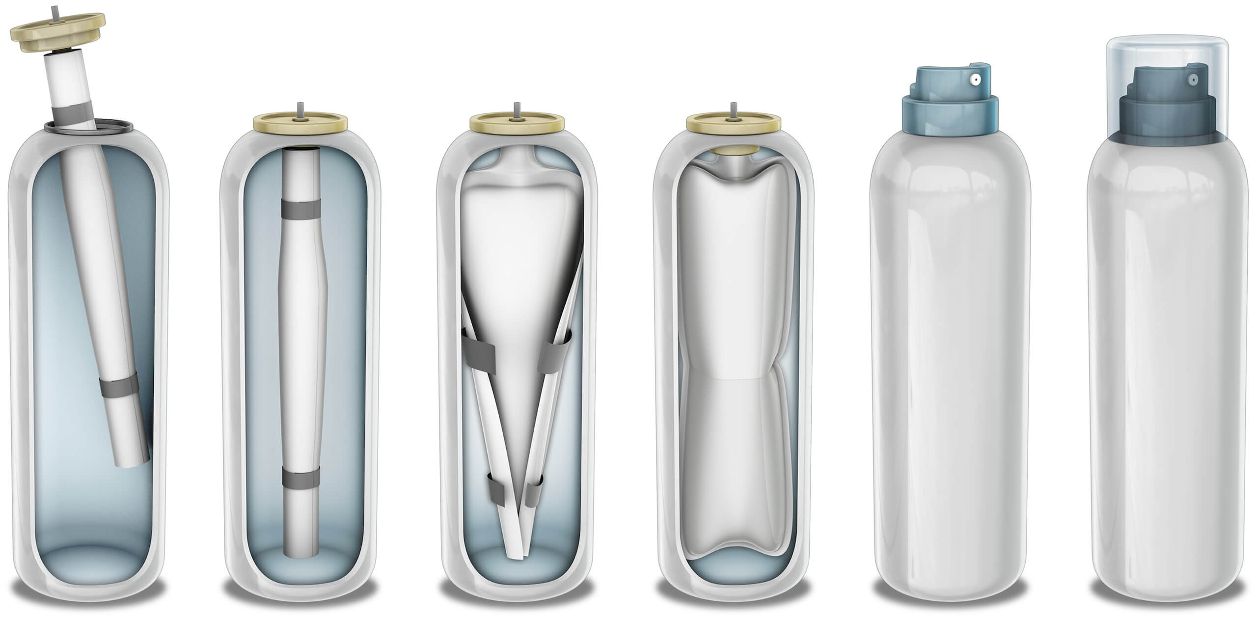 Stages of the Bag-on-Valve aerosol production process
